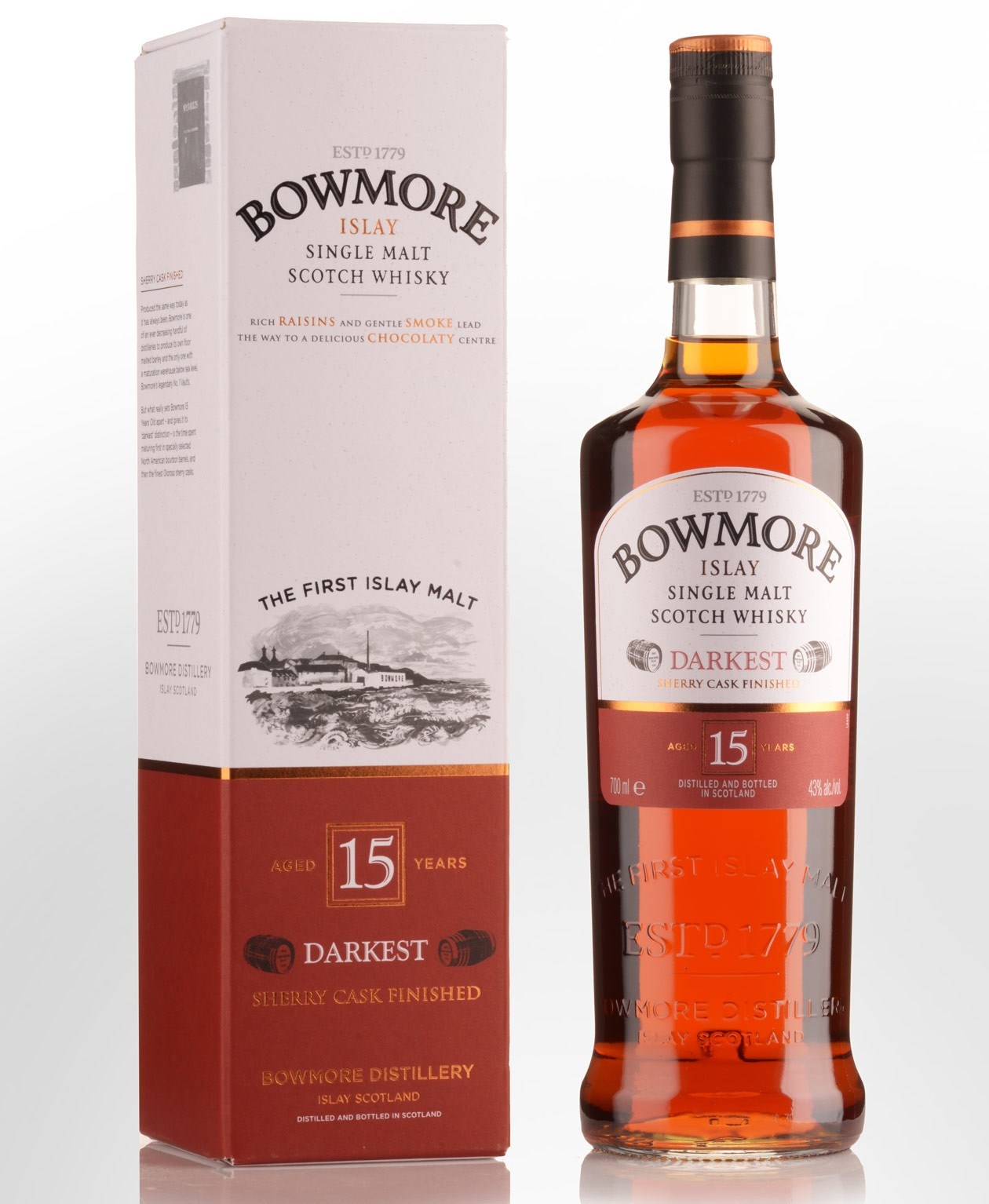 Bowmore 15Y.O. darkest sherry cask finished 43°